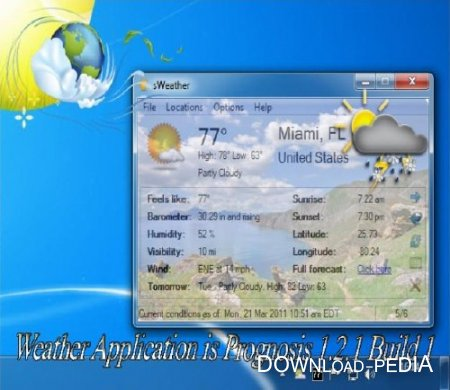 Weather Application is Prognosis 1.2.1 Build 1