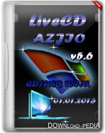 LiveCD AZJIO v5.6 от 01.01.2013 CD/USB WIM (RUS) (2012)